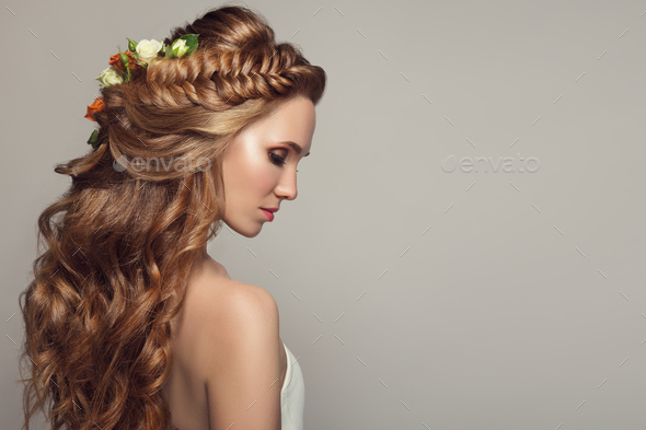 Close Up Portrait Of Young Beautiful Woman With Flowers. - Stock Photo - Images