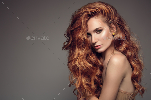 Portrait Of Woman With Long Curly Beautiful Ginger Hair. - Stock Photo - Images