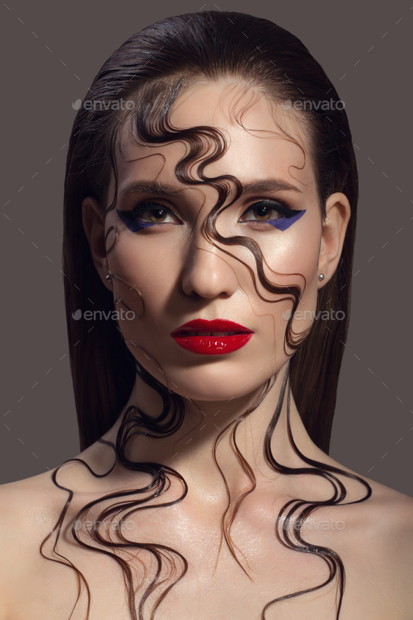 Portrait Of Beautiful Woman. Fantasy Make-up. - Stock Photo - Images