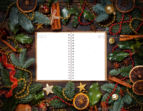 Christmas composition with notebook - Stock Photo - Images