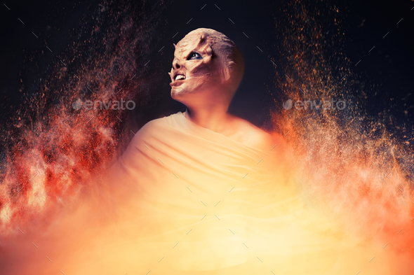 Devil From Hell. Fire Inferno. - Stock Photo - Images