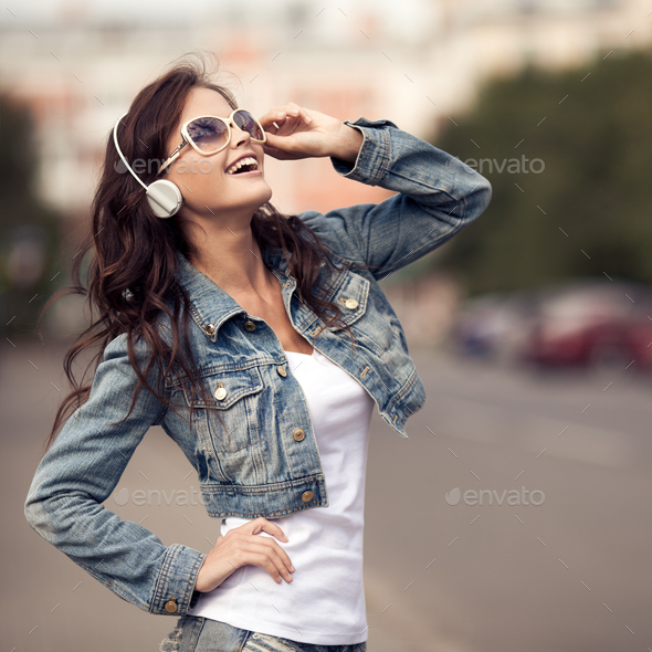 Image Of Young Happy Woman, Listening Music And Having Fun - Stock Photo - Images