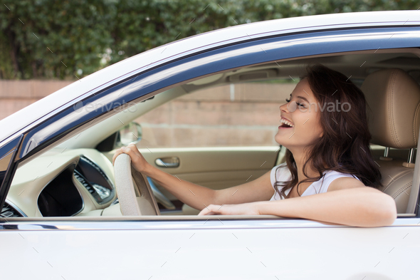 Young Happy Smiling Woman Driving Car - Stock Photo - Images