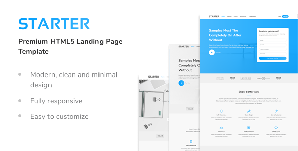 Starter - Premium HTML5 Landing Page Template by frontpixels