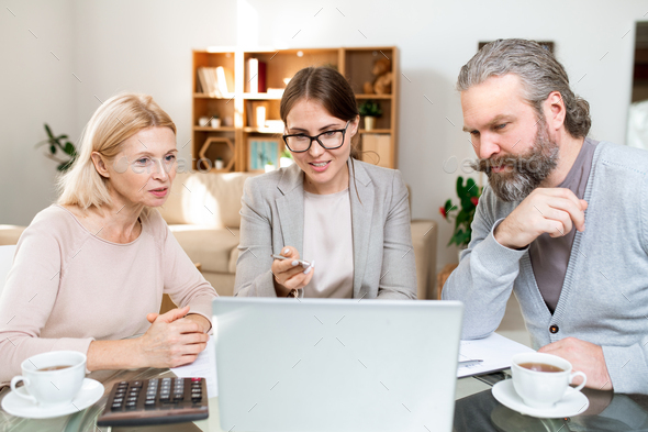 Mature couple looking at laptop display while financial advisor explaining data - Stock Photo - Images