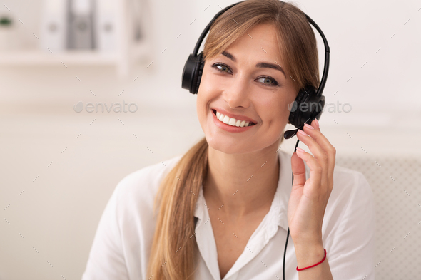 Smiling Woman In Headset Working In Call Center Office - Stock Photo - Images