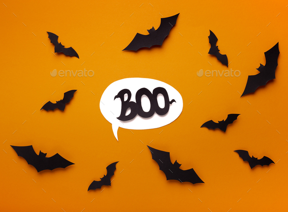 Speech bubble with boo text on scaring background - Stock Photo - Images