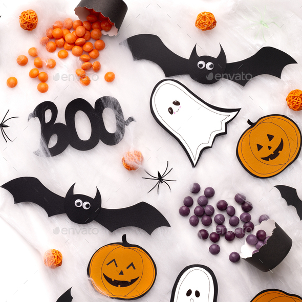 Close up of creative Halloween accessories and silhouette - Stock Photo - Images