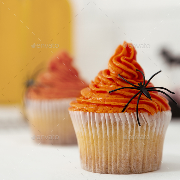 Close up of orange pumpkin cupcake with black scary spider - Stock Photo - Images