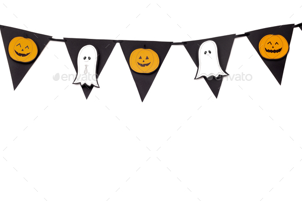 Halloween creative garland with pumpkins and ghosts - Stock Photo - Images