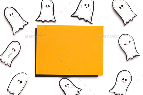 Halloween autumn background with orange blank sheet of paper - Stock Photo - Images