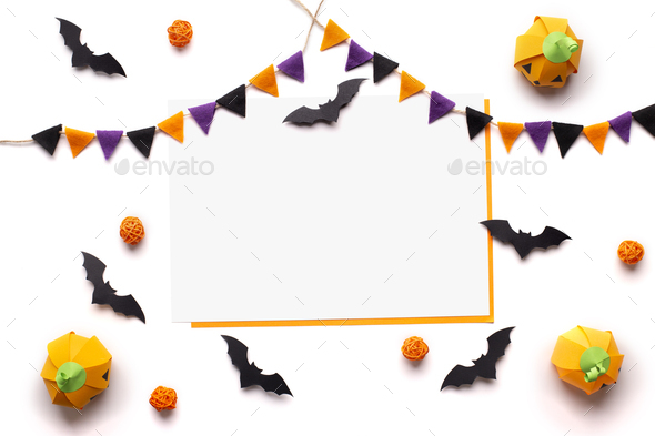 Creative Halloween background with pumpkins, bats and space - Stock Photo - Images