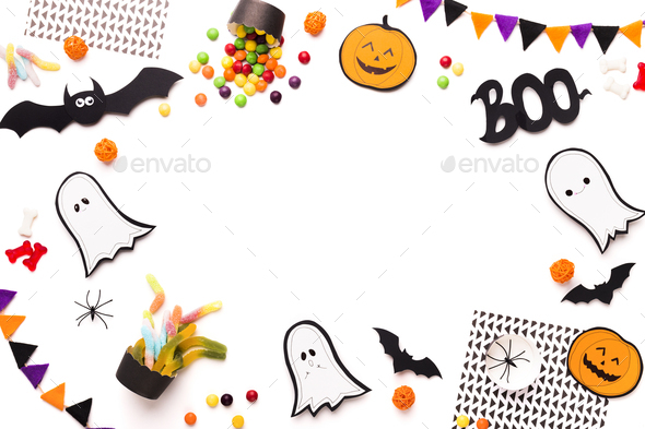 Frame with cute and funny Halloween figures - Stock Photo - Images