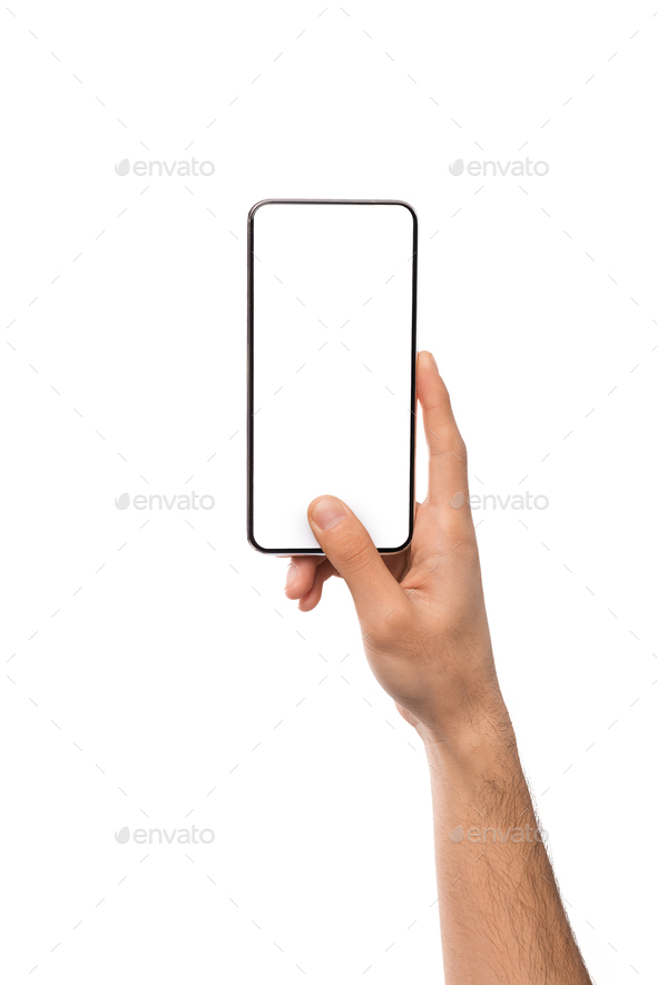 Mockup image of male hand holding smartphone with blank screen - Stock Photo - Images