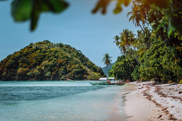 Vacation on beautiful tropical island, relax chill getaway enjoy summer in El Nido, Palawan island - Stock Photo - Images