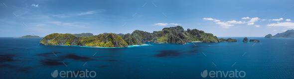 Breathtaking aerial panorama of tropical paradise Miniloc Island, El Nido, Palawan, Philippines - Stock Photo - Images