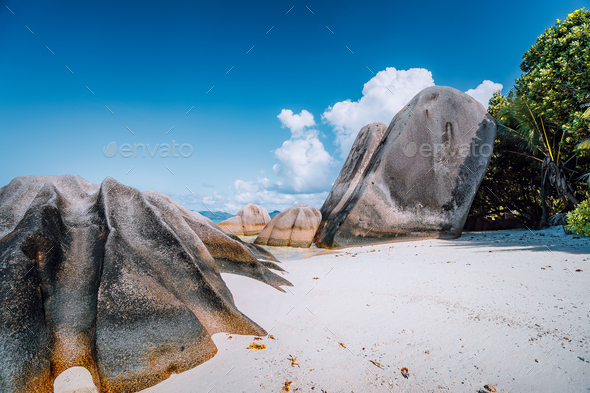 Anse Source d'Argent -amazing tropical beach with huge granite boulders on La Digue Island - Stock Photo - Images