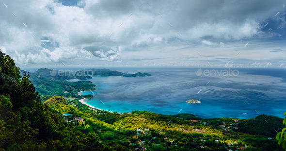 Morne Blanc viewpoint. Beautiful scenery of island coastline Nature trail Mahe Island Seychelles - Stock Photo - Images