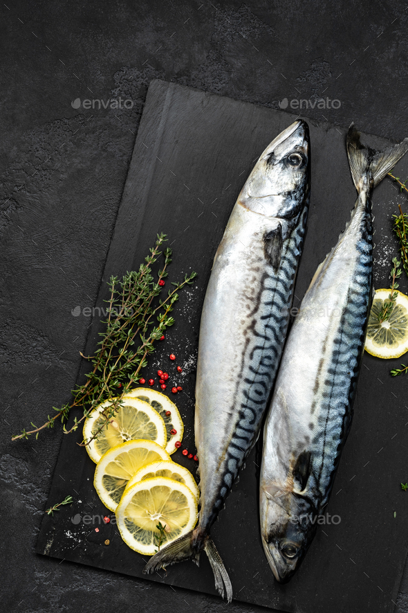 Mackerel. Fresh raw fish with ingredients for cooking, top view, flat lay - Stock Photo - Images