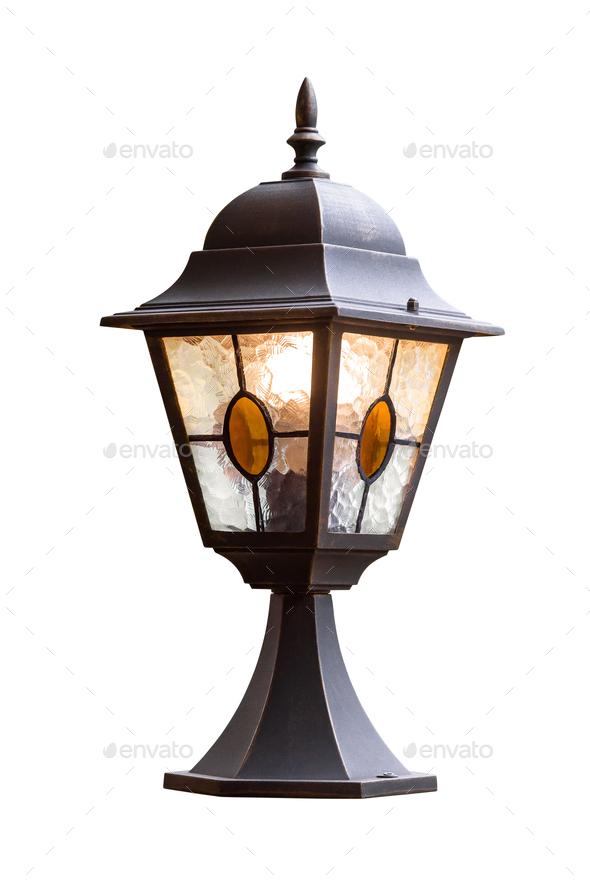 Garden lamp isolated on white background - Stock Photo - Images