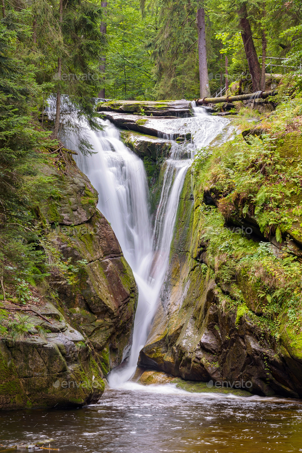 Waterfall of Szklarka river in Giant Mountains - Stock Photo - Images