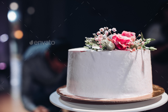 Beautiful Wedding Cake Decorated With Flowers