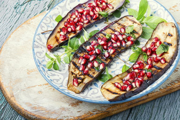 Half an eggplant grill - Stock Photo - Images