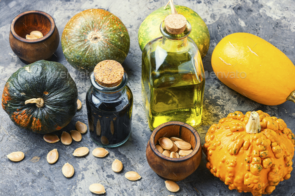 Natural pumpkin seed oil - Stock Photo - Images