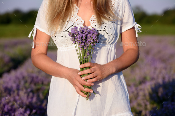 Beautiful young woman, holding lavender in lavender field - Stock Photo - Images