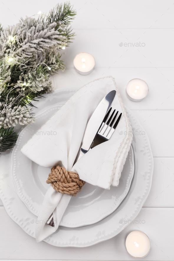 Christmas table setting - Stock Photo - Images