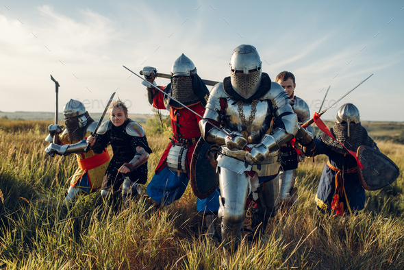 Medieval knights fight, great tournament - Stock Photo - Images