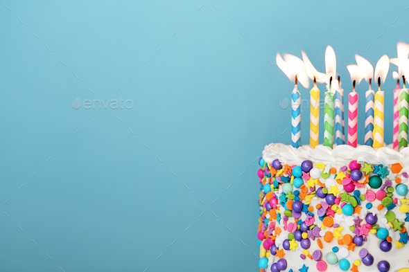 Astounding Colorful Birthday Cake With Lots Of Candles Stock Photo By Ruthblack Funny Birthday Cards Online Hendilapandamsfinfo