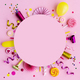 Pink birthday flat lay background - PhotoDune Item for Sale