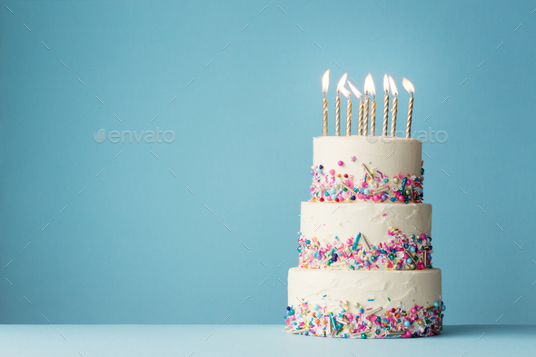 Amazing Tiered Birthday Cake With Sprinkles Stock Photo By Ruthblack Personalised Birthday Cards Paralily Jamesorg