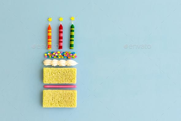 Birthday cake, top view - Stock Photo - Images