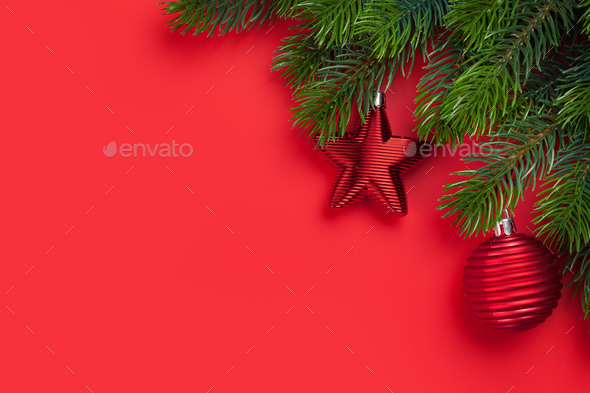Christmas card with decor and fir tree branch - Stock Photo - Images