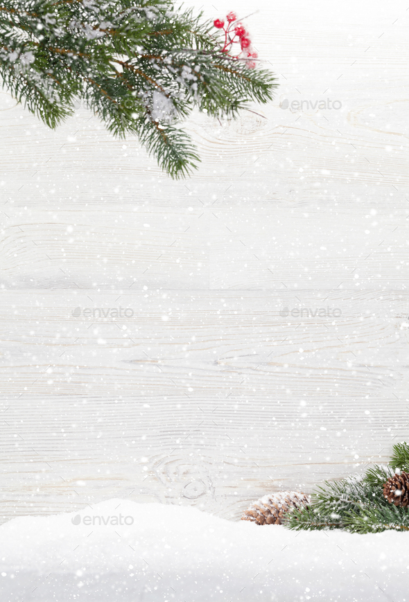Christmas backdrop with fir tree branch - Stock Photo - Images