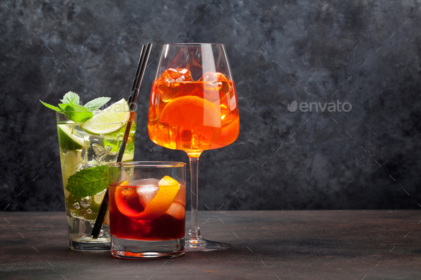Three classic cocktail glasses - Stock Photo - Images
