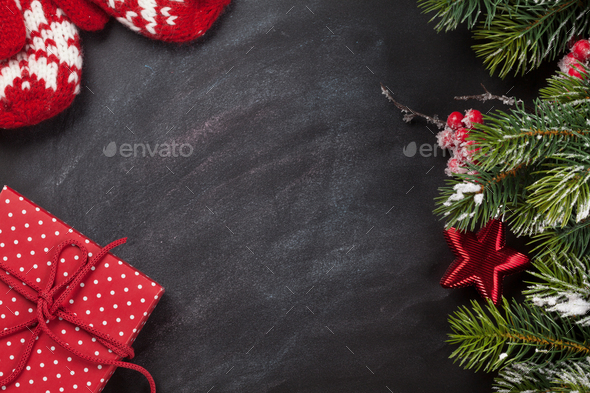 Christmas card with fir tree branch - Stock Photo - Images
