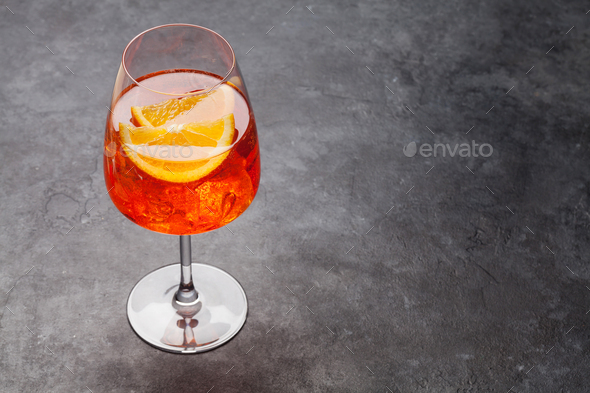 Aperol spritz cocktail glass - Stock Photo - Images