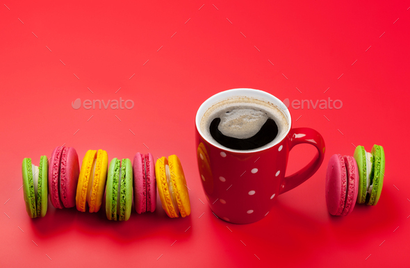 Cake macaron or macaroon sweets and coffee - Stock Photo - Images