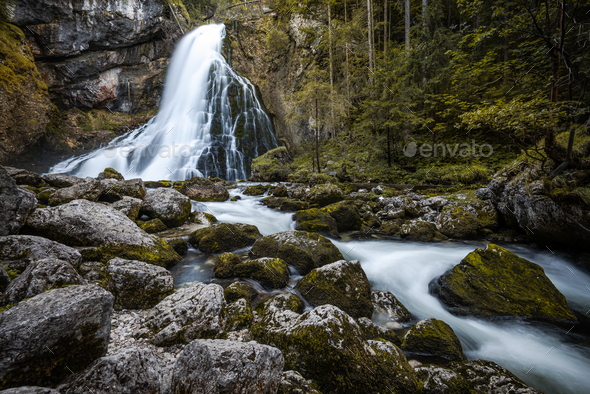 Gollinger Waterfall near Salzburg in Austria - Stock Photo - Images