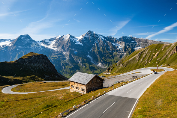 Scenic and Panorami High Alpine Road in Austria Alps - Stock Photo - Images