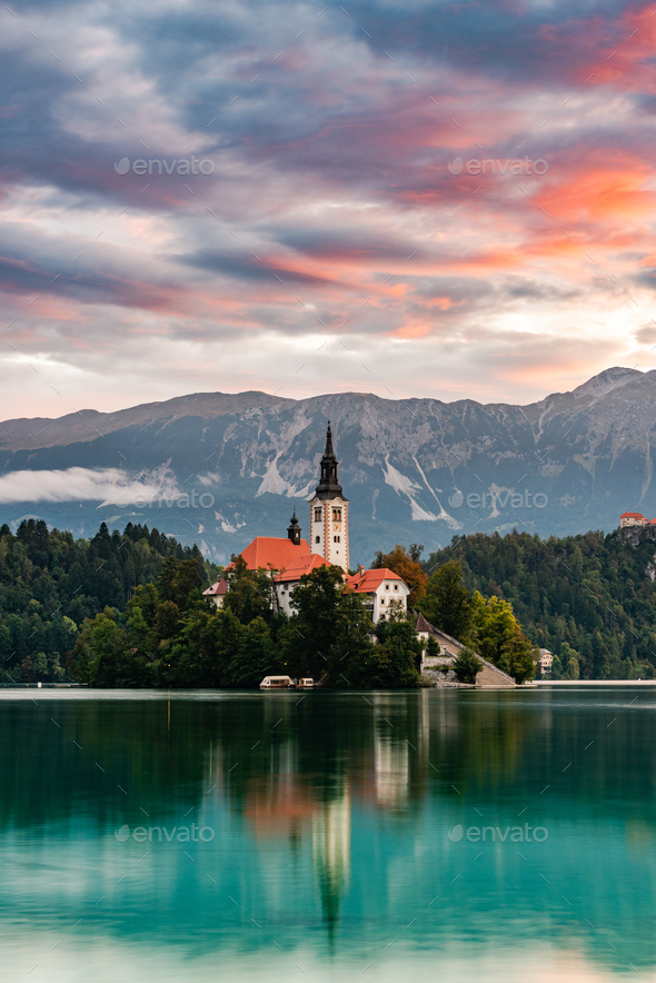 Bled Lake in Slovenia with Church on Island at Sunrise. Slovenia - Stock Photo - Images