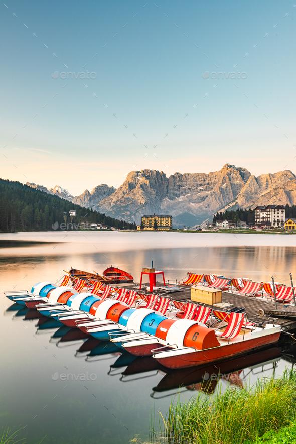Beautiful Colorful Boats at Lake Misurina in Italian Dolomites a - Stock Photo - Images