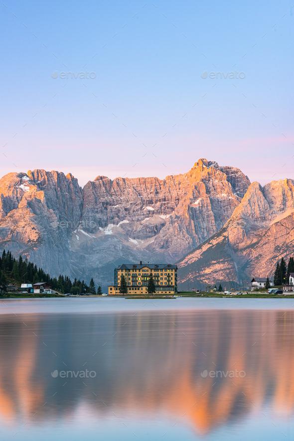 Beautiful Sunrise at Misurina Lake in Italian Dolomites Mountain - Stock Photo - Images
