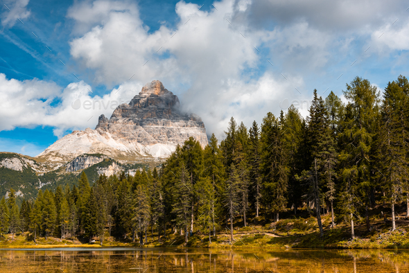 Famous Lake Antorno in Italian Dolomites at Fall Season - Stock Photo - Images