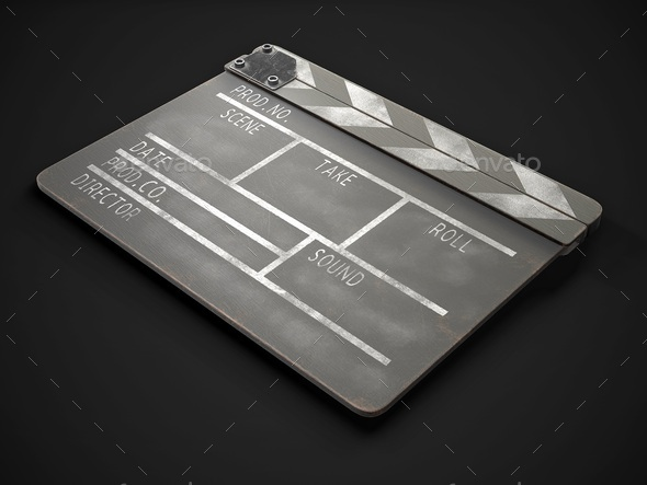 Old clapperboard on a dark background. 3d rendering. - Stock Photo - Images