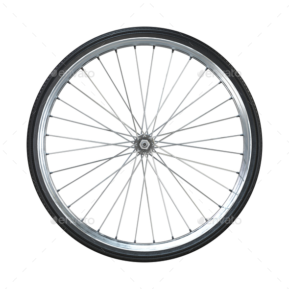 Bicycle wheel isolated on white background. Side view. 3d rendering. - Stock Photo - Images