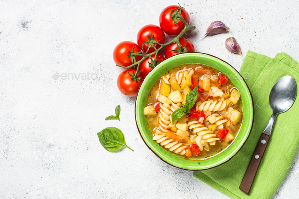 Minestrone with vegetable and pasta top view - Stock Photo - Images